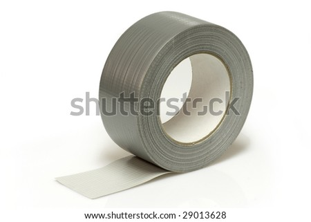 Silver insulating tape isolated on white background - stock photo