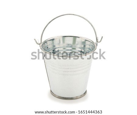 Silver iron bucket on white background with clipping path.Empty bucket isolated on white.  ストックフォト ©