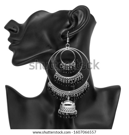 Silver Isolated Earring Ethnic Indian Style, Bohemian Jewellery, Stylish Silver Oxidized Earrings, Multicolor Beads Earrings, Jhmka Earrings, Jhumki Earrings, Dangle Drop Stud Earring On Dummy Mannequ