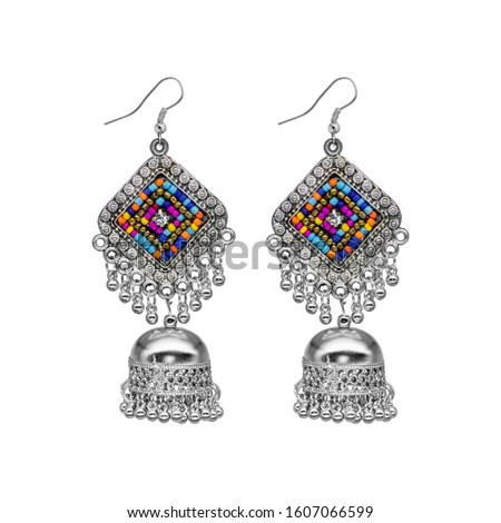 Silver Isolated Earring Ethnic Indian Style, Bohemian Jewellery, Stylish Silver Oxidized Earrings, Multicolor Beads Earrings, Jhmka Earrings, Jhumki Earrings, Dangle Drop Stud Earring