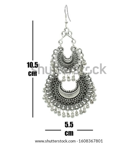 Silver Isolated Earring Ethnic Indian Style, Bohemian Jewellery, Stylish Silver Oxidized Earrings, Multicolor Beads Earrings, Jhmka Earrings, Jhumki Earrings, Dangle Drop Stud Earring On Size Chart