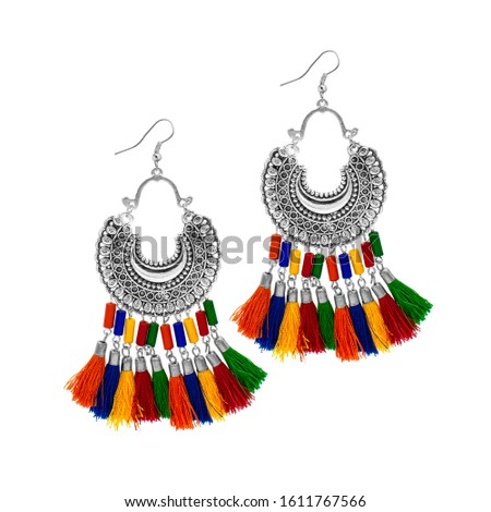 Silver Isolated Earring Ethnic Indian Style. Bohemian Jewellery. Stylish Silver Oxidized Earrings. Multicolor Beads Earrings. Jhumka, Jhumki Earrings. Dangle Drop Stud Earring
