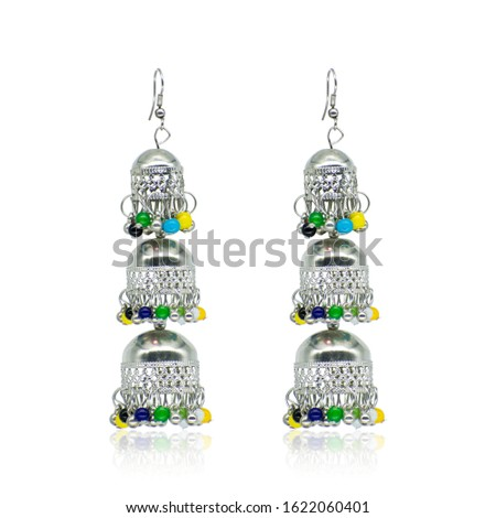 Silver Isolated Earring Ethnic Indian Style. Bohemian Jewellery. Stylish Silver Oxidized Earrings. Multicolor Beads Earrings. eardrop Earrings. Dangle Drop Stud Earring