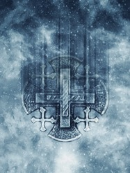 Silver Jerusalem cross with religious inscriptions in blizzard background. Design for cover. Macro