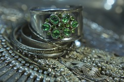 Silver jewelry with Emerald. Lot of Beautiful Oriental Silver, Gold (Indian, Arab, African). Fashion Ethno Accessories, Asian Bridal jewelry. Tribal Moroccan Jewelry. Necklace, Earrings, Bracelets