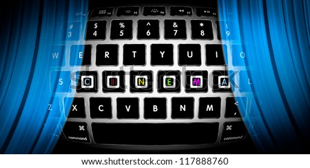 Silver keyboard with word Cinema on it. Blue curtains of online theatre. Watch movies on Internet. Concept of entertainment for people on web. Cyber theater in computer. Design for Internet site.