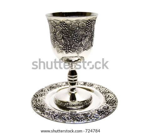 Silver kiddush wine cup and saucer isolated