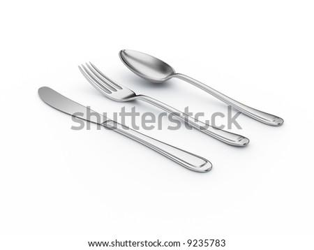 silver kitchenware on white background