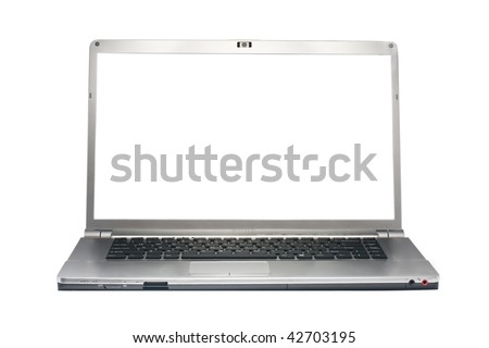 Silver laptop isolated on white with clipping path. White screen. Front view.