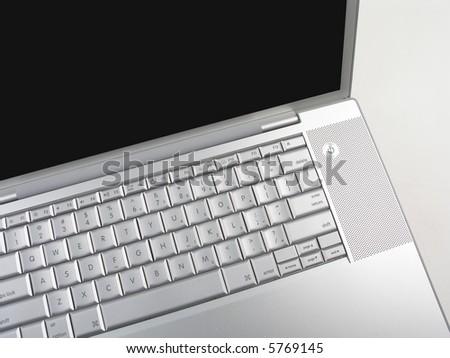 silver laptop large screen top view black screen