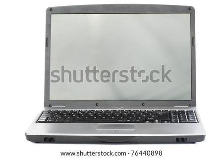 Silver laptop on a white background