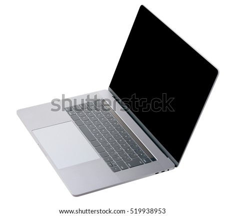 silver laptop PC top view on white background