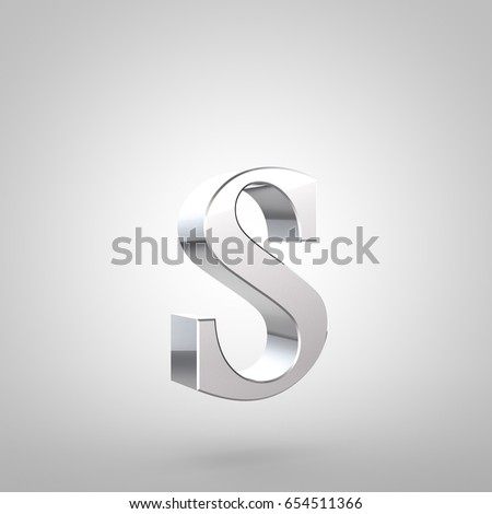 Silver letter S lowercase. 3D rendering serif font with tiny fillet and light reflection isolated on white background. #654511366