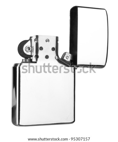 silver lighter isolated on white background