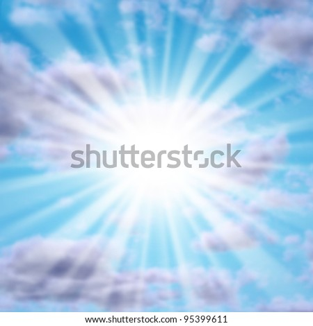 Silver lining in the clouds with a glowing sun or star as a powerful natural symbol of inspiration and positive motivation for a better happier life in the future.