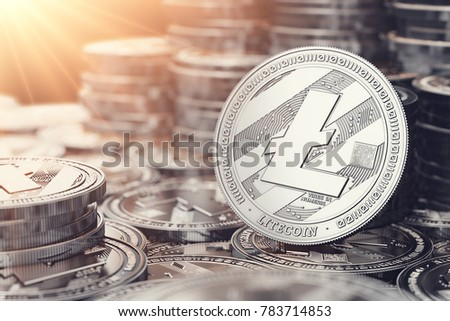 Silver Litecoin in close up shot. Sun flare as sign of bright future. 3D rendering