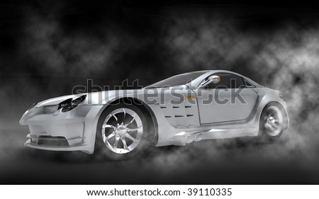 Silver luxury dream sports car / sportscar with spinning tire smoke filled cloudy studio