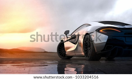 Silver luxury sports car sunset scene (with grunge overlay), tail lights detail - 3d illustration