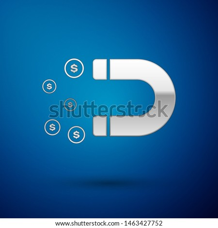 Silver Magnet with money icon isolated on blue background. Concept of attracting investments, money. Big business profit attraction and success