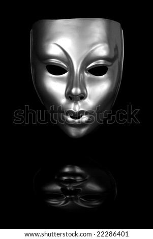 Silver mask isolated on black background