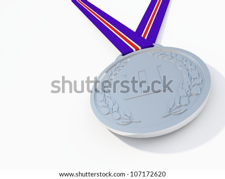 silver medal - stock photo