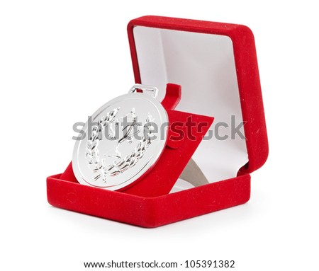 silver medal in red gift box. white background