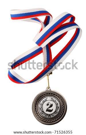 Silver medal with ribbon. Isolated on white background