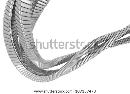 Silver metal abstract string 3d illustration
