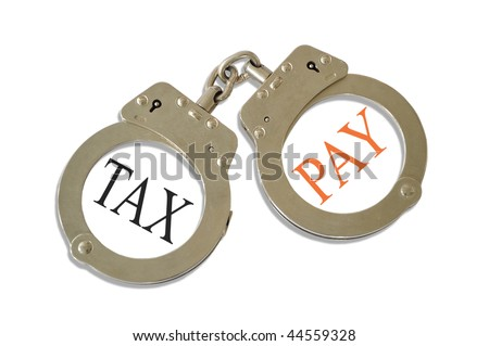 Silver metal handcuffs tax pay concept