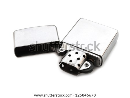 Silver metal lighter on white background isolated.