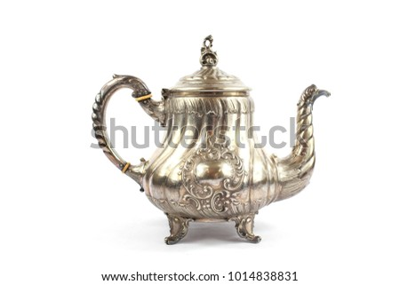 Silver Metal Ornate Tea Pot on White Background #1014838831