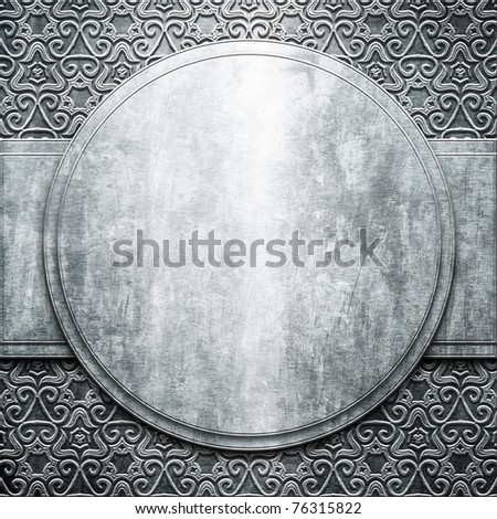 Silver metal plate with classic ornament (vintage signboard)