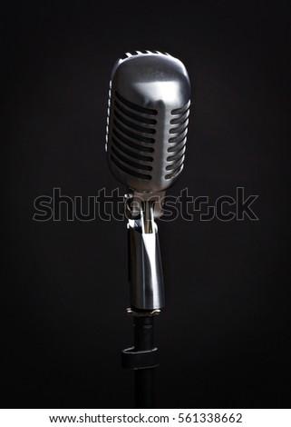 silver metal vintage microphone ...