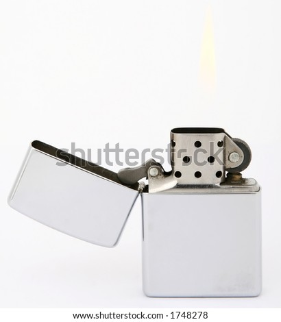 Silver metal zippo lighter for smokers, close-up, macro, copy space, isolated on white
