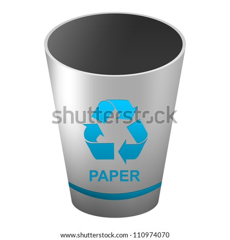 Silver Metallic Style Recycle Bin With Blue Paper and Recycle Sign For Recycle and Conservation Concept Isolate on White Background