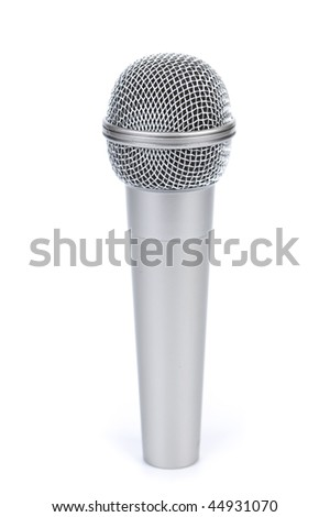 Silver microphone on a white background.