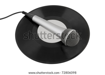 Silver microphone over a vinyl record isolated