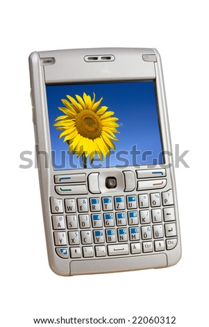 Silver mobile phone with a colorful picture on the display isolated on white.