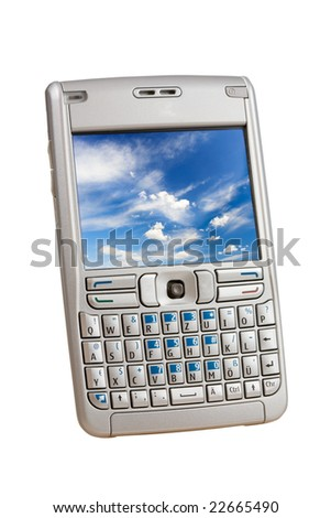 Silver mobile phone with a colorful picture on the display  isolated on white. Two clipping paths are included for easy extraction, one for the phoen, one for the display.