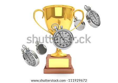 Silver modern Stopwatch with gold trophy on a white background