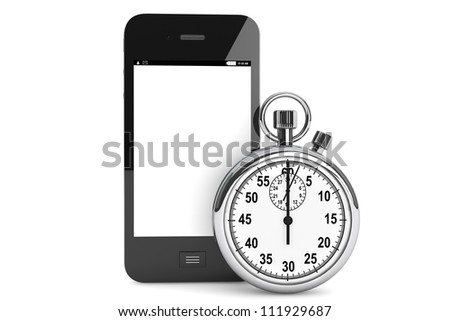 Silver modern Stopwatch with Mobile Phone on a white background