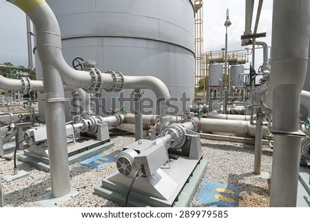 Silver motor driven pump of water treatment section in factory