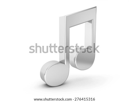 silver music note symbol on a white background.