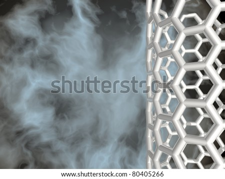 SILVER NANOTUBE ON BLACK CLOUDY BACKGROUND