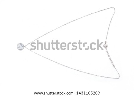 Silver necklace with diamond. Platinum chain with gem. Luxury brilliant jewelry pendant or coulomb on transparent background isolated vector illustration for ads, flyers, wed site sale elements design #1431105209
