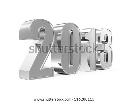 Silver New Year 2013 isolated on white background - stock photo