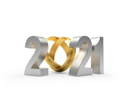 Silver number 2021 with golden wedding ring isolated on white background. 3d illustration