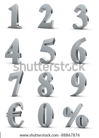 silver numbers with euro and percent symbol