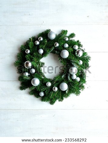 Silver ornament balls Christmas wreath