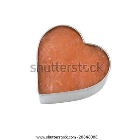 silver outlined heart filled with a salmon fillet